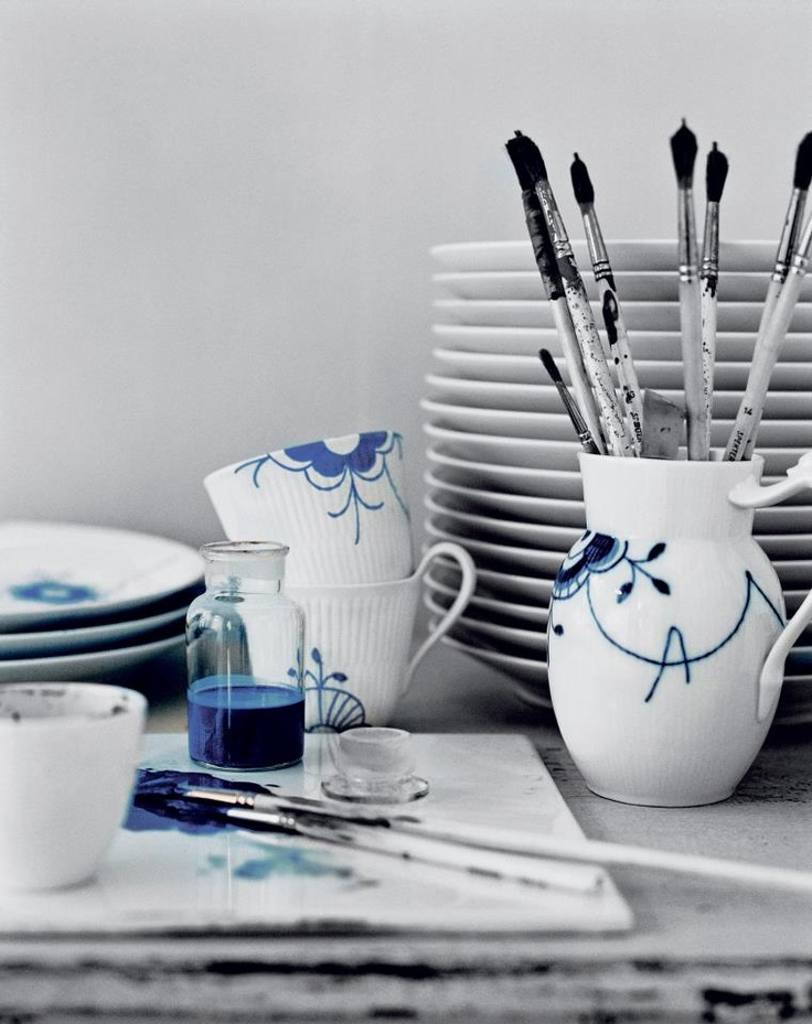 Hand-painted Blue Fluted Mega from Royal Copenhagen! http://ow.ly/uRO0r #danishdesign #royalcopenhagen #denmark
