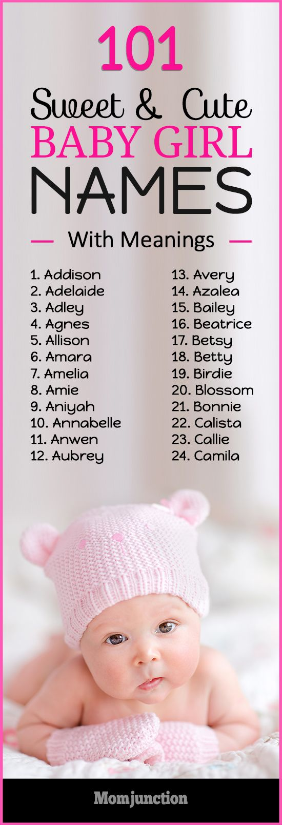 101 #Sweet & #Cute #Baby #Girl #Names With Meanings : If you are looking for such name which suits your daughter now and forever, MomJunction has a list of 101 sweet and cute girl names. Trendy, traditional, celebrity favorites — we've got them all for you in our list below.