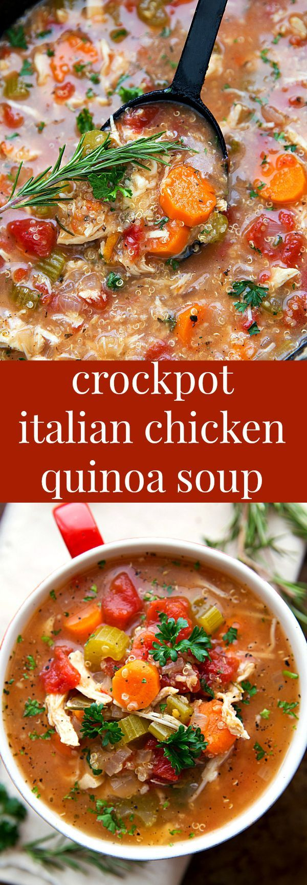 SUPER simple slow cooker (dump it and forget it!) Italian Chicken, Quinoa, and Vegetable Soup - ty Chelsa, maybe I will switch and become a quinoa lover