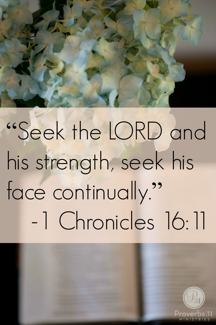 "Proverbs 31 Ministries Encouragement for Today Devotion:   ""Seek the LORD and his strength, seek his face continually."" 1 Chronicles 16:11"