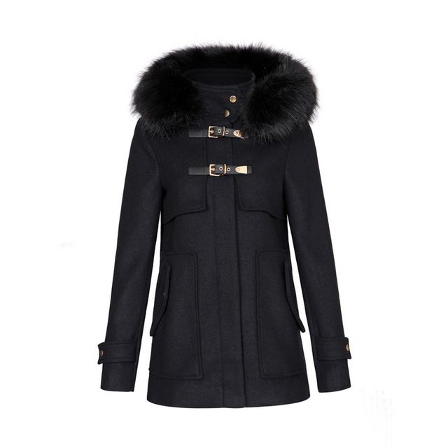 Women winter warm long woolen coat thick black faux fur hooded buckle outerwear long sleeve blends casual pockets tops CT1185 US $52.06-55.98 /piece Specifics Gender	Women Outerwear Type	Wool & Blends Decoration	Button,Pockets,Zippers Clothing Length	Long Pattern Type	Solid Sleeve Style	Long Sleeve Brand Name	none Closure Type	Zipper Type	Wide-waisted Material	Wool,Polyester Collar	Hooded Sleeve Length	Full Model Number	none  Click to Buy :http://goo.gl/t9O329