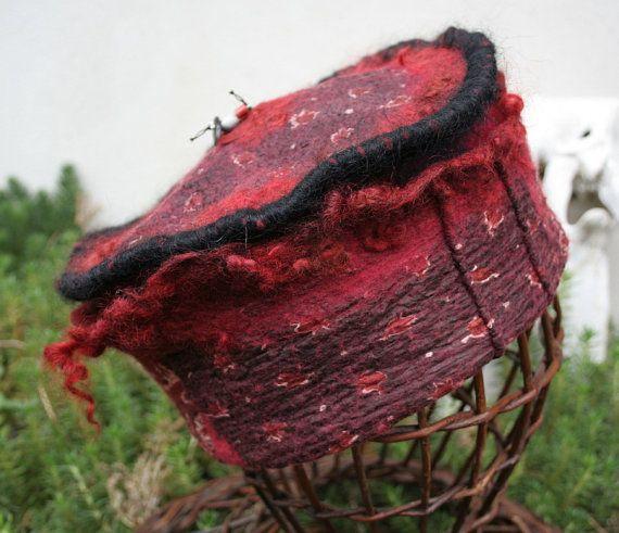 Bordeaux Nuno Felted Hat