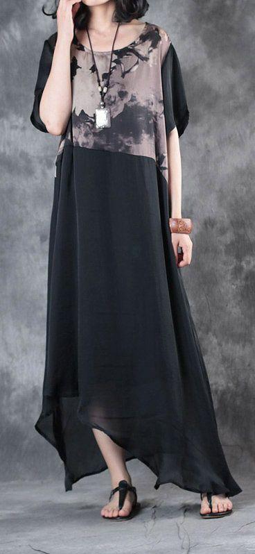 black patchwork prints silk cotton dresses plus size asymmetric sundress short sleeve draping maxi dress