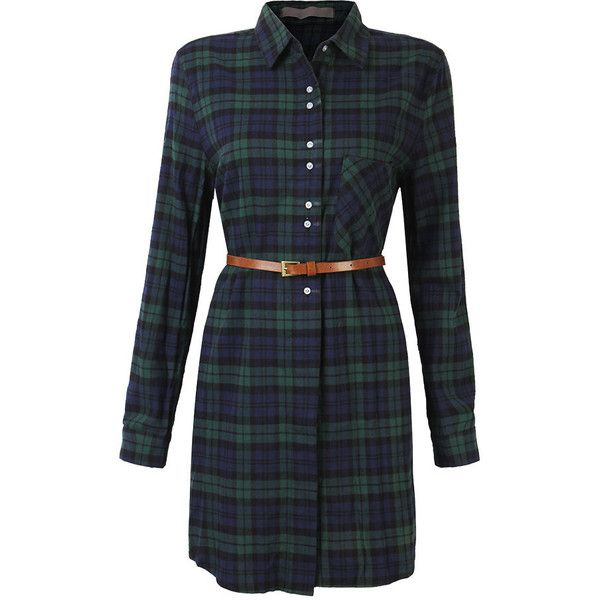 Vintage Plaid Long Sleeve Turn Down Collar Shirt Dress For Women (£20) ❤ liked on Polyvore featuring dresses, newchic, green, plaid dress, shirt dress, vintage dresses, t-shirt dresses and green dress