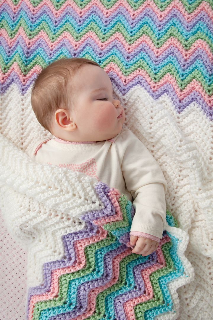 Rickrack Rainbow Baby Blanket By Red Heart Design Team - Free Crochet Pattern - (ravelry)