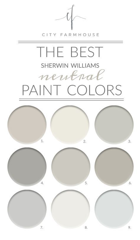 1. Agreeable Gray | 2. Alabaster | 3. Aloof Gray | 4. Ellie Gray | 5. Repose Gray 6. Mindful Gray | 7. Passive | 8. Pure White | 9. Quick Silver