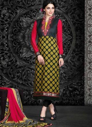 Vibrant Red And Black French Crape Printed Designer Churidar   Suit http://www.angelnx.com/Salwar-Kameez/Churidar-Suits