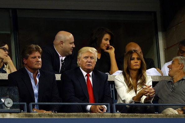 Melania Trump Photos Photos - Donald Trump and his wife Melania attend a men's singles quarter final match between Rafael Nadal of Spain and  Tommy Robredo of Spain on Day Ten of the 2013 US Open at USTA Billie Jean King National Tennis Center on September 4, 2013 in the Flushing neighborhood of the Queens borough of New York City. - US Open: Day 10