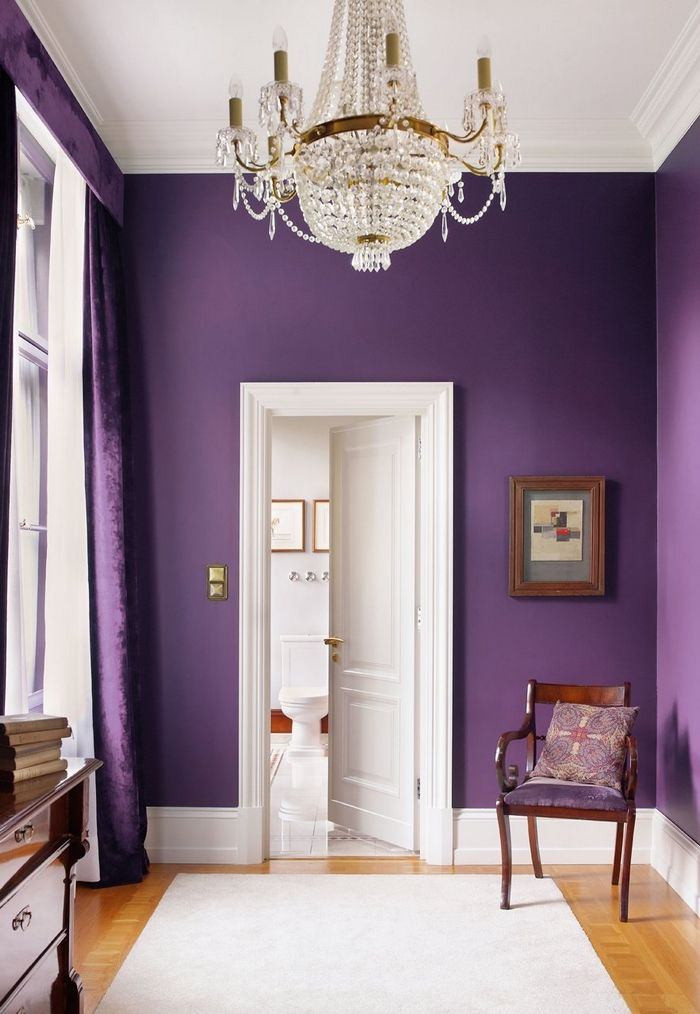Dramatic, deep purple walls that draw attention to the crisp white high ceilings and glass chandelier. | 4inspireddesign.comDecor, Wall Colors, Shades Of Purple, Room Colors, Living Room, Purple Rooms, Bedrooms, Purple Wall, Accent Wall