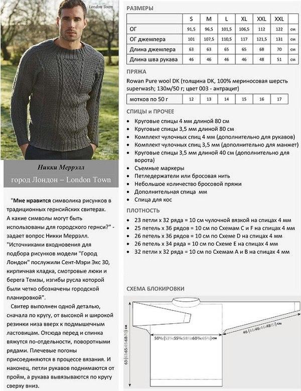Пуловер спицами мужской со схемой и описанием вязания