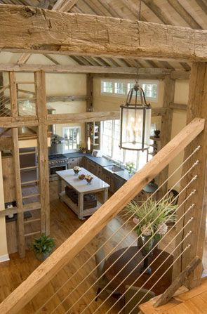 Interior of a restored, converted 1850s barn home <3 ........just hope I can see my horses while I'm making breakfast!