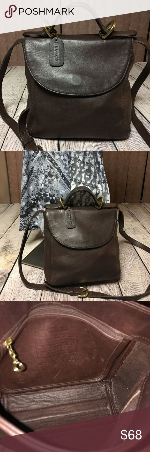 "Coach Vintage SoHo Top Handle Flap XBody 4158 This great bag is made from supple rich brown leather with brass hardware. The djustable strap drops 22-25"" Inside zip pocket with embossed creed and serial number H6C-4158 Made in the USA Excellent condition. Coach Bags Crossbody Bags"