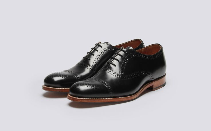 Mens Brogue in Black Rub Off Leather with a Leather Sole | Matthew | Grenson Shoes - Three Quarter View