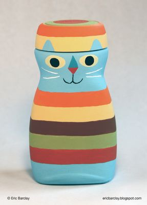 Illustrator Eric Barclay makes adorable things out of household objects. This was a glass instant coffee jar.