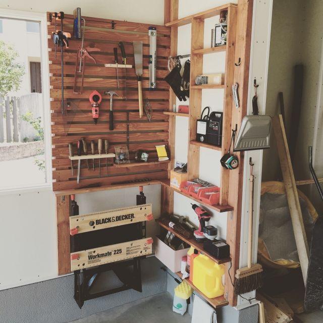 nekobaiさんの、ガレージライフ,2×4材棚,ガレージ,DIY,壁/天井,のお部屋写真