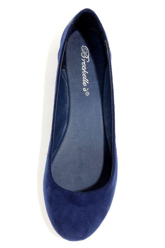 Cherry 11 Navy Blue Ballet Flats at LuLus.com!