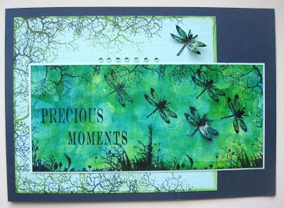 Precious Moments. A handstamped card with staps from Art Journey, made for the Challenge 36: Shades of Blue and Green. Made by Dianne ten HOve. Background is done with Splash Ink