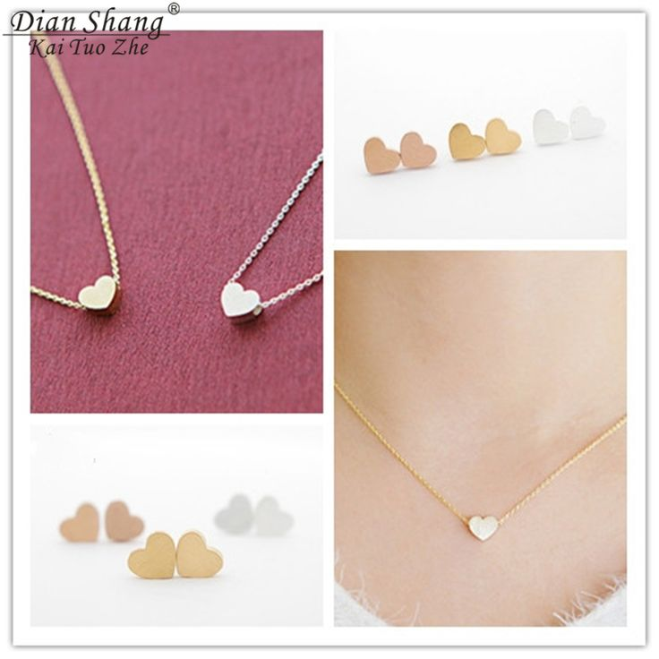 DIANSHANGKAITUOZHE Stainless Steel Necklace Jewelry Sets Gold Chains Heart Tattoo Choker Aros Earring Oorbellen Bridesmaid Gift