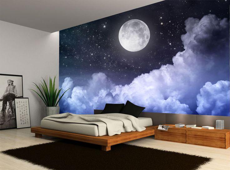 Night Sky Moon Clouds Dark Stars Wall Mural Photo