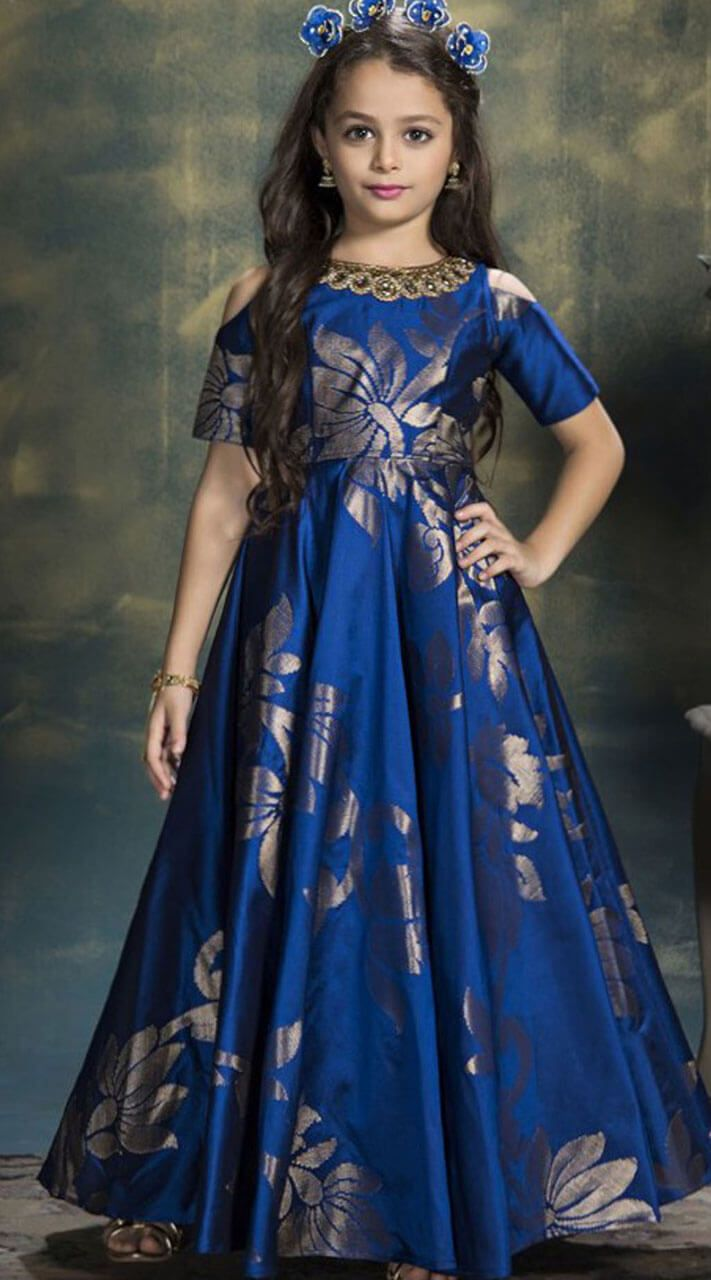 73cedb4400 Royal Blue Cold Shoulder Kids Gown has Cut Dana and #Stone Work. Elegant  #Blue #Digital #Print Kid Girl #Gown for Birthday Party is Jacquard Gown.