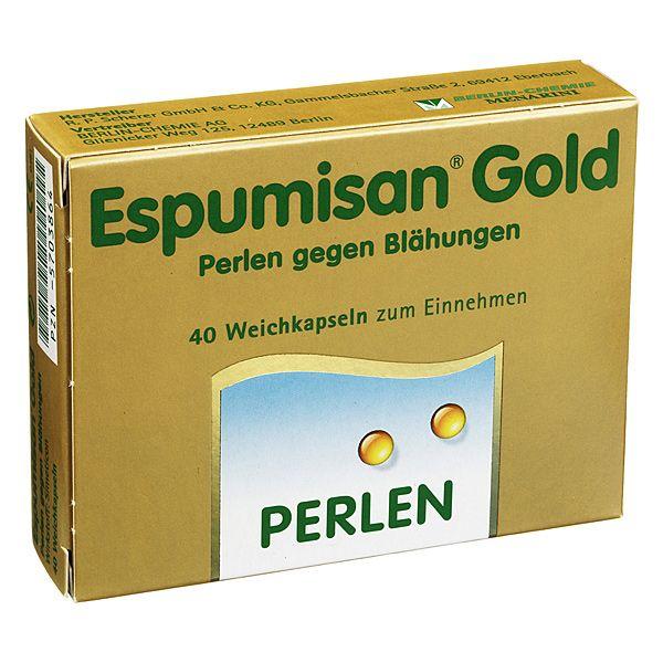 Espumisan Gold Perlen gegen Blähungen, 40 St | PZN: 5703864 | WIRKSTOFF: Simeticon | HERSTELLER: BERLIN-CHEMIE AG | • Hoch dosiert (140 mg Simeticon) • Eine Perle zu den Mahlzeiten genügt • Für Schwangere und Stillende geeignet • Geschmacksneutral • Zucker- und lactosefei • Keine Nebenwirkungen bisher bekannt >> http://www.juvalis.de/5703864/espumisan-gold-perlen-gegen-blaehungen << #Apotheke #Arzneimittel #Medikamente #Blaehungen