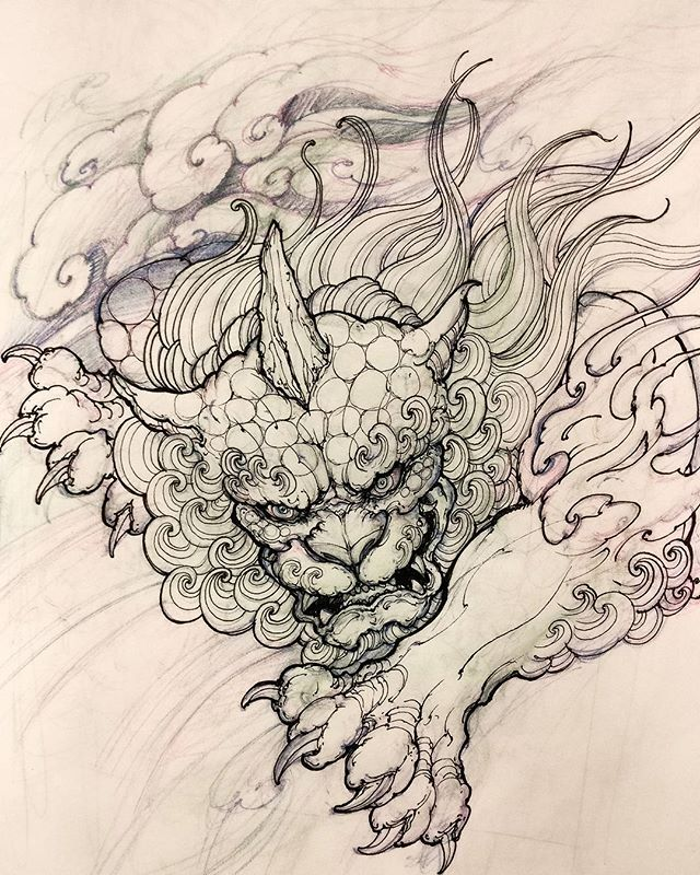 Foodog sketch #foodog #drawing #illustration #sketch #asiantattoo #asianink #irezumi #tattoo #chronicink