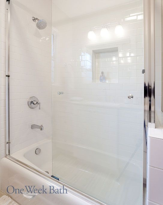 Sliding Glass Door On A Shower Tub Combo OneWeekBath Traditional Bathroom
