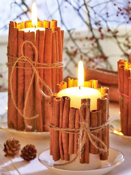DIY Cinnamon Candles  What better way to make your room smell wonderful than with the scent of cinnamon? Let the warmth of the candle release the spicy scent. Just wrap cinnamon sticks around your candle and secure them with twine and then let the sweet aroma fill the room. A great idea from the Home & Garden blog.