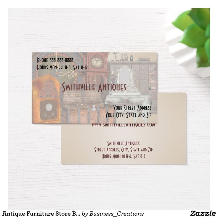Antique Furniture Store Business Card Custom Check out more business card designs at http://www.zazzle.com/business_creations or at http://www.zazzle.com/businesscardscards