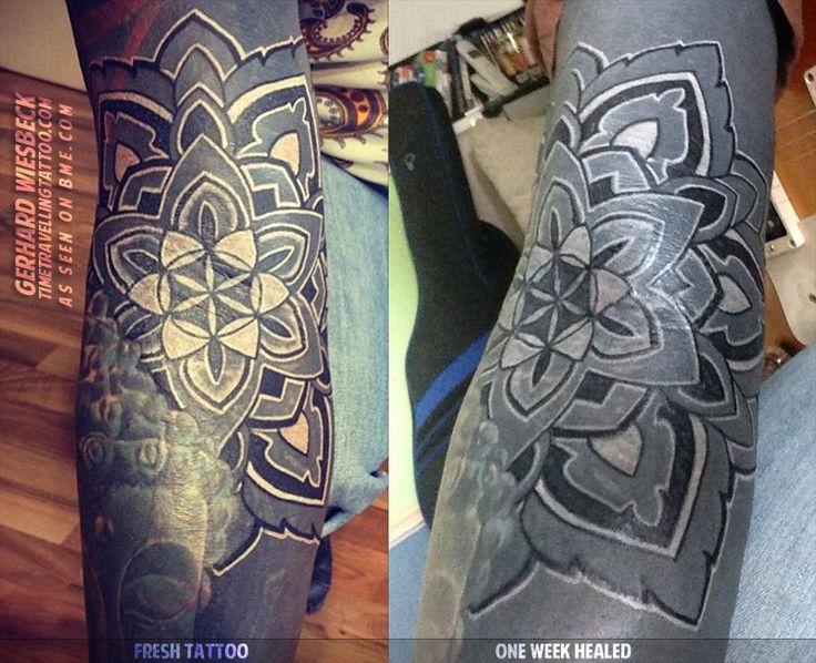 White and Black Tattooing over Healed Blackwork - Gerhard Wiesbeck (timetravellingtattoo.com)