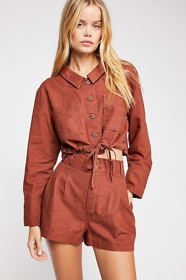 3cb96eaa93b Everly Suit - Cargo Rust Colored Two Piece Suit with Shorts and Long Sleeve  Tie Front Buttonup