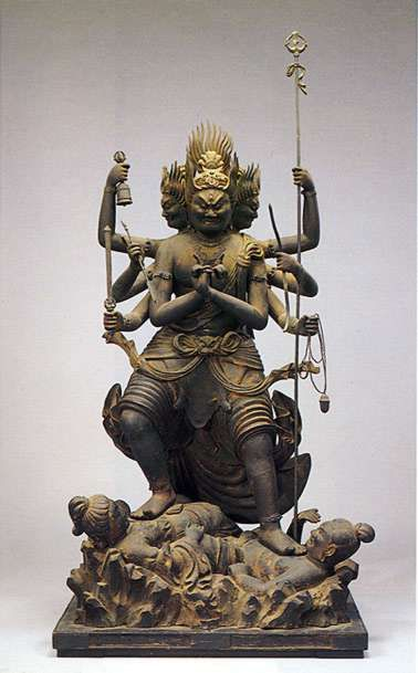 降三世明王 (Trailokya-vijaya-raja)The Luminous King who defeats the three vectors of time (past, present and future) .