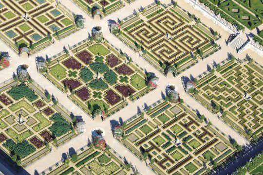 Photographie du jardin de Villandry à la française vu du ciel.