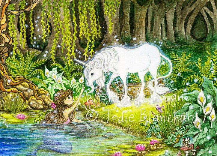 "Unicorn and mermaid painting, fantasy art, girls room decor ""An Enchanted Encounter"" archival fine art print by Wishsongdesign on Etsy https://www.etsy.com/listing/85787017/unicorn-and-mermaid-painting-fantasy-art"
