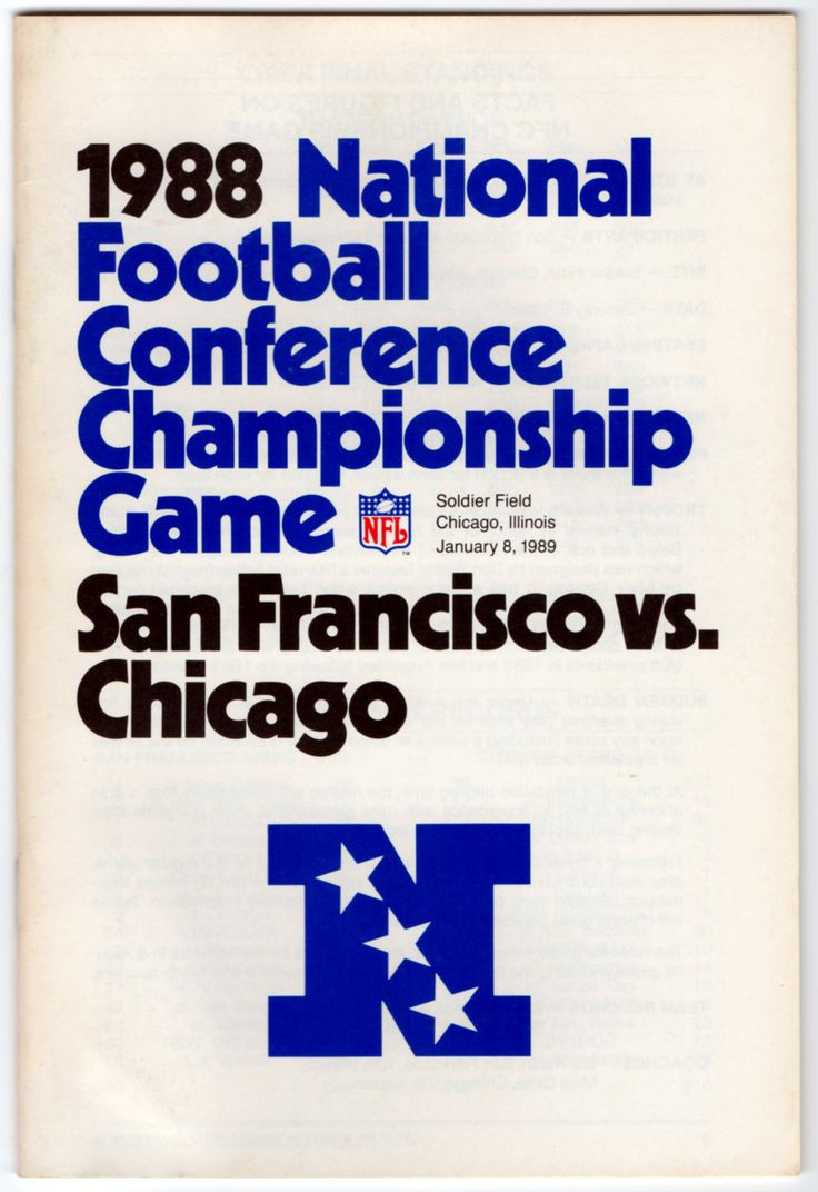 1988 NFC Championship Game NFL Media Guide (Chicago Bears vs San Francisco 49ers) by LlwynLlwyfenni on Etsy