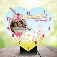 anneye özel kalpli masa saati 1