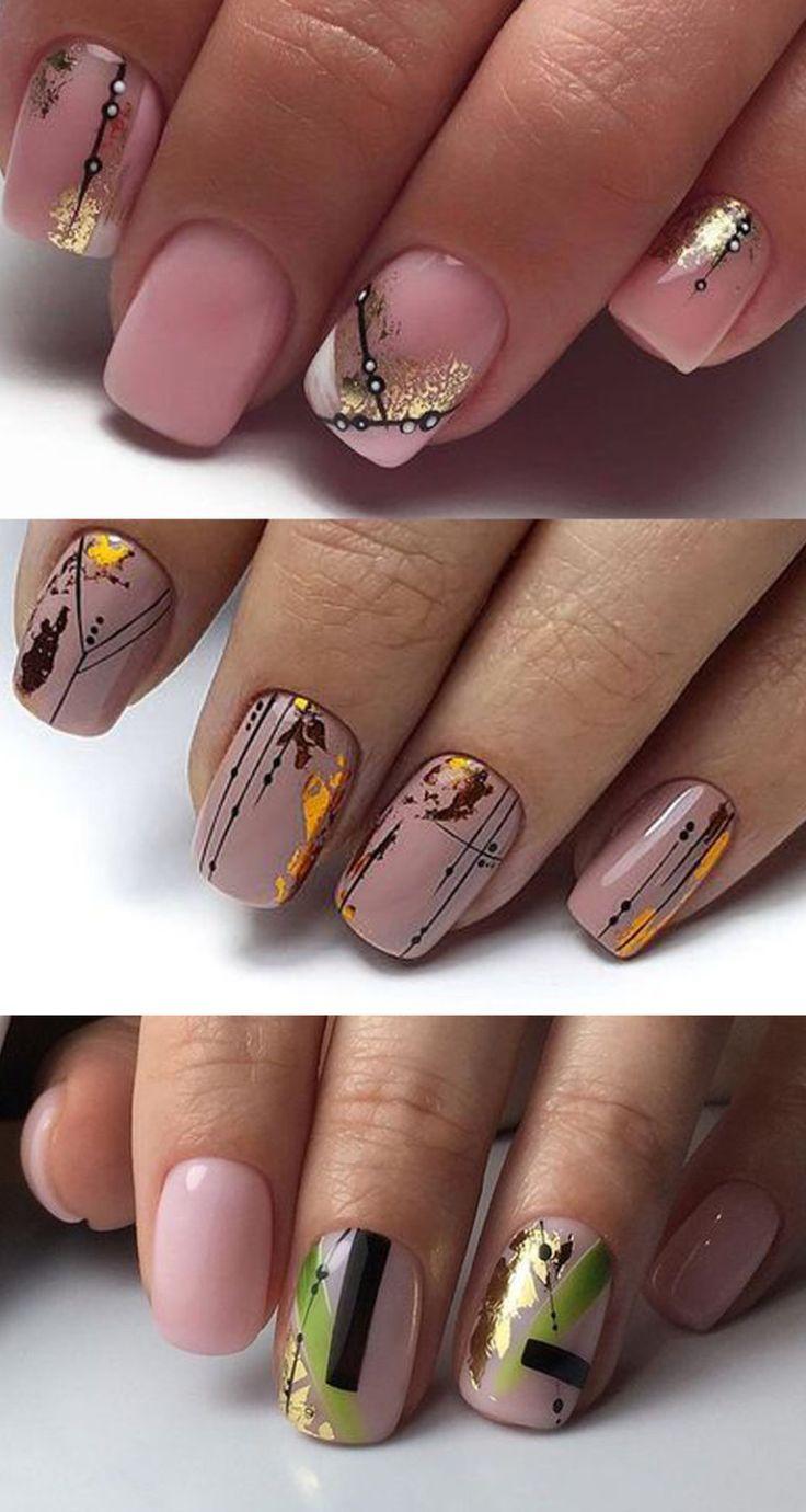 Нюд, фольга, геометрия – Красивые ногти – nägelmodelle