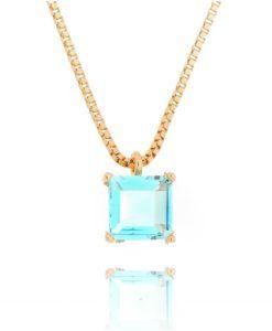 colar delicado com zirconia agua marinha semi joias modernas