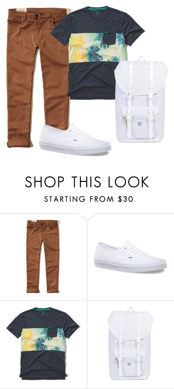 """Boys C 11 (White Vans #1)"" by tobyla on Polyvore featuring Hollister Co., Vans, mens, men, men's wear, mens wear, male, mens clothing, mens fashion and vans"