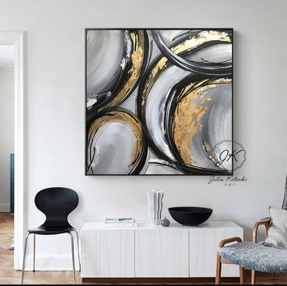 Extra Large Canvas art, Gold Leaf Abstract Painting,Black and White Wall Art, Large Original Canvas Art Paintings On Canvas by Julia Kotenko