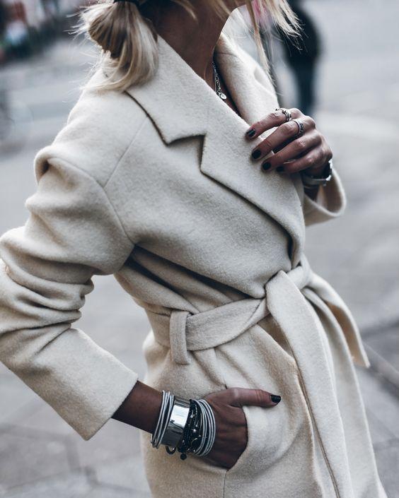 cream coat.