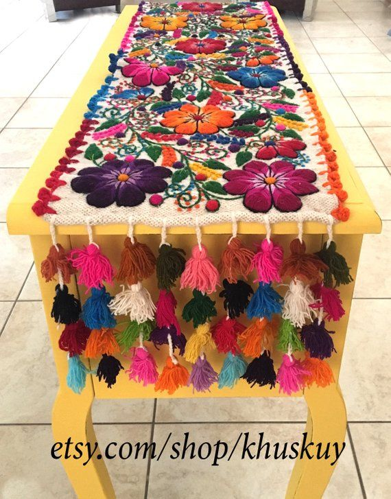 Boho Table Bed Runner Floral Embroidery Table Loom Tapestry Peru Boho Chic Rustic Chic Table Runner Hippie Runner Wedding Runner Gift Rustic Chic Table Runner Embroidered Table Runner Bed Runner