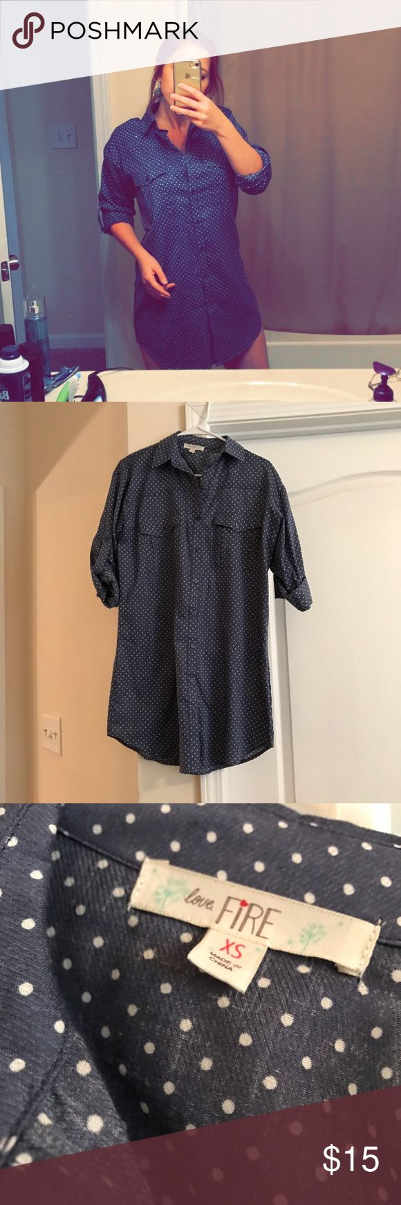 💟Polka Dot Tee Shirt Dress💟 Adorable polka dot tee shirt dress. Size XS but runs big for that oversized look. Rolled up sleeves with little buttons to connect them to. Classic item for your wardrobe. Perfect condition. Dresses