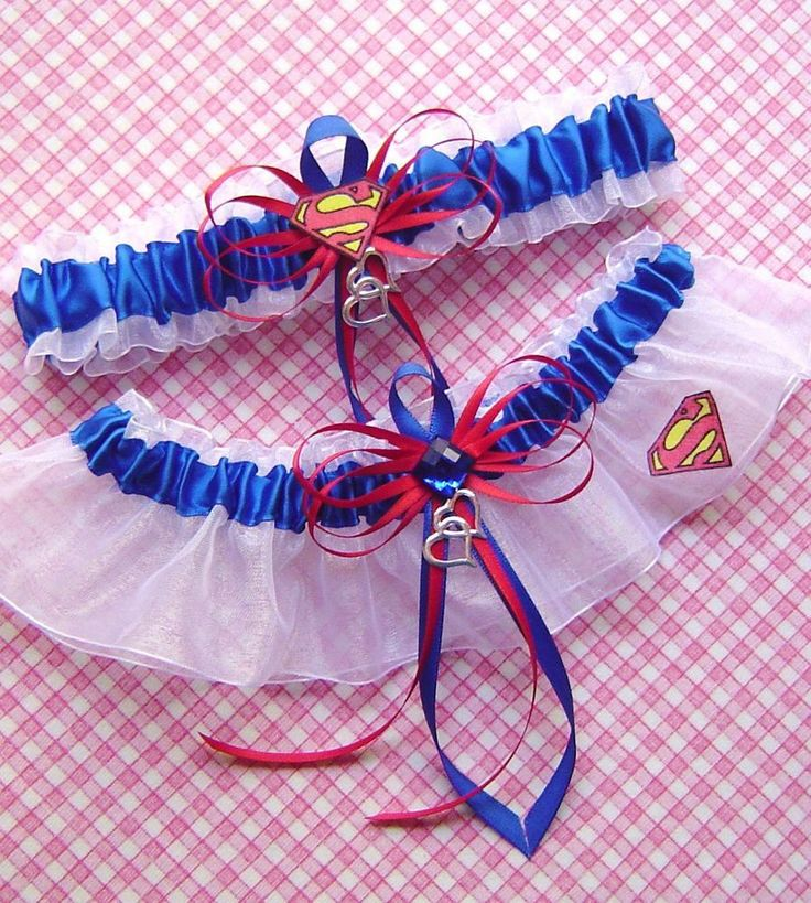 Superman Jewel White Wedding Garters Double Heart Charms SOMEBODY GET ME THESE!