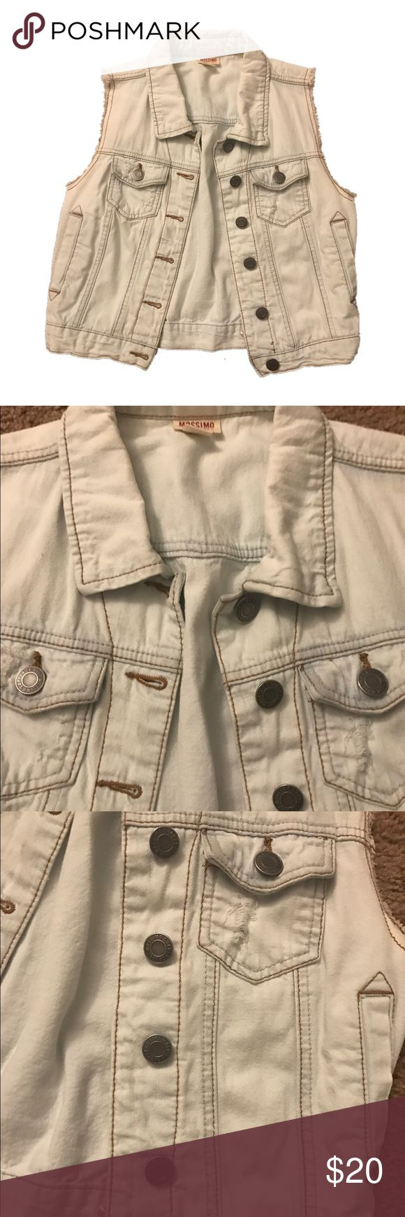 SLEEVELESS DENIM JACKET Very light blue color. Almost white. Perfect condition. No flaws. Ripped jean jacket so has a few rips throughout but that's the style to the jacket. Mossimo Supply Co Jackets & Coats Vests