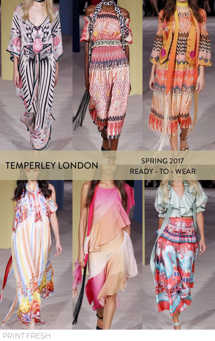 Spring 2017 Ready-to-wear Runway Print & Pattern Trends- Temperley London Images: vogue.com beautiful ombres, tribal motifs mixed with graphic florals. faux embroidery