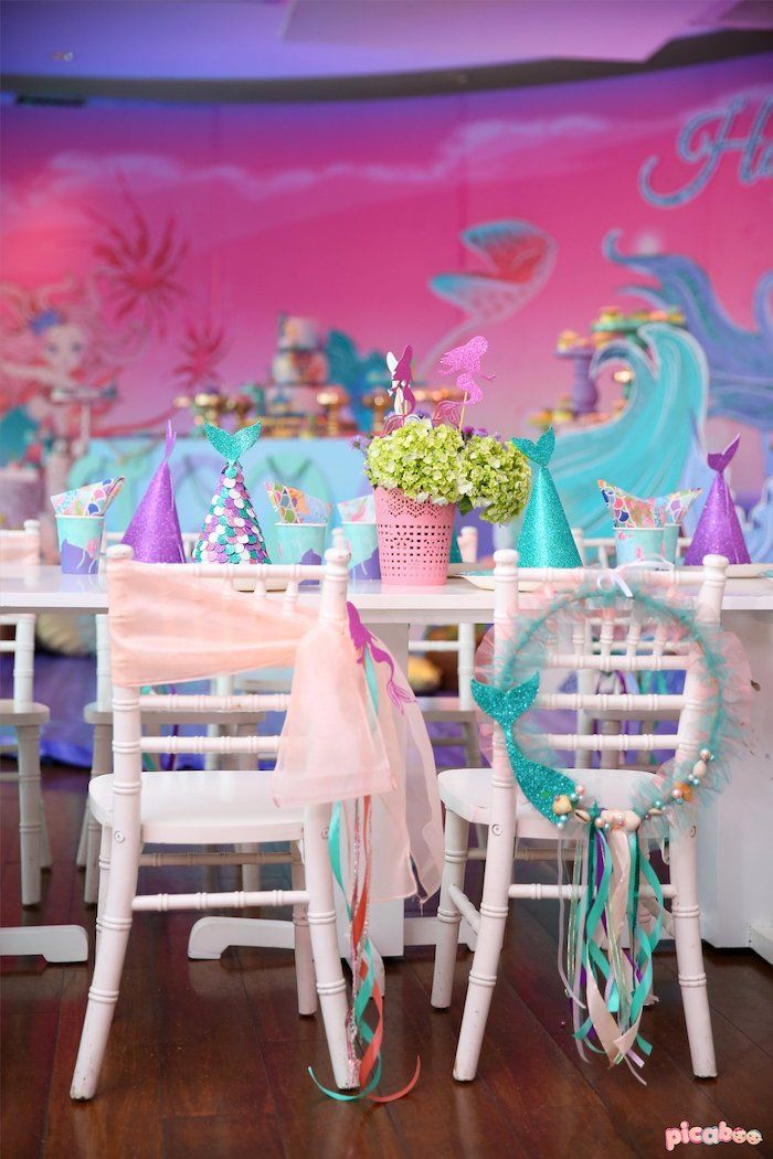Under The Sea Themed Party Chairs From A Magical Mermaid Birthday On Karas Ideas