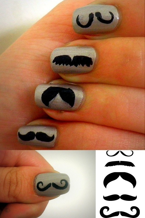 I mustache you to polish your nails