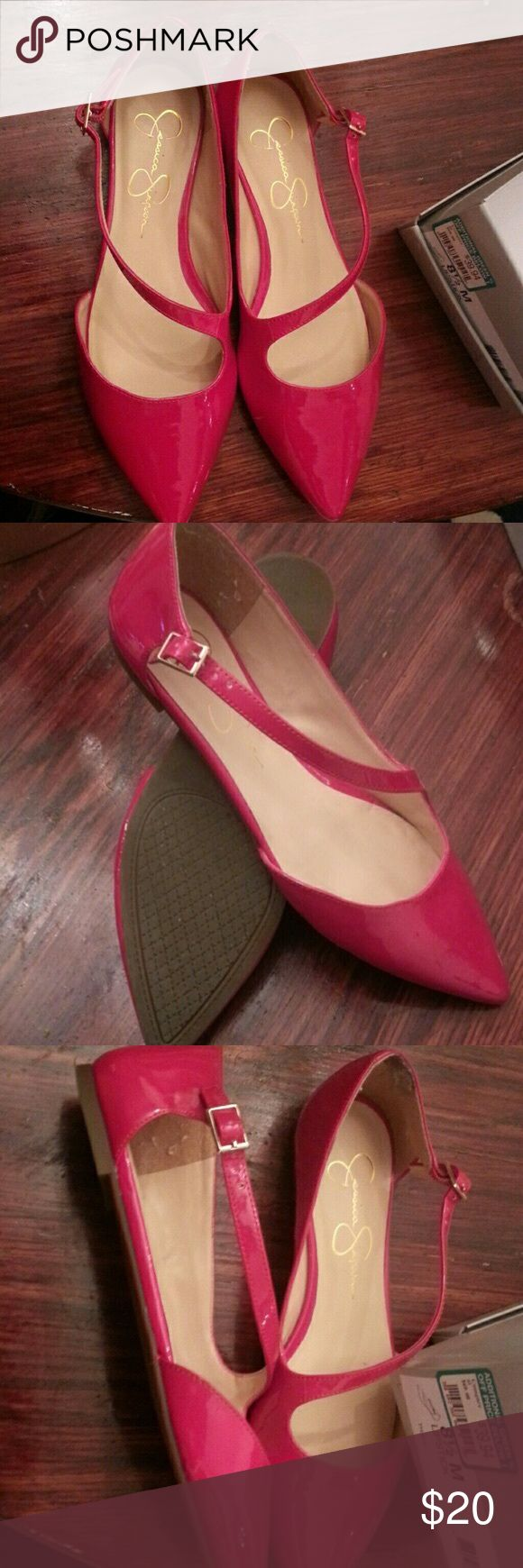 Jessica Simpson red flats Jessica Simpson, cute red flats, condition like new no visible signs of wear Jessica Simpson Shoes Flats & Loafers