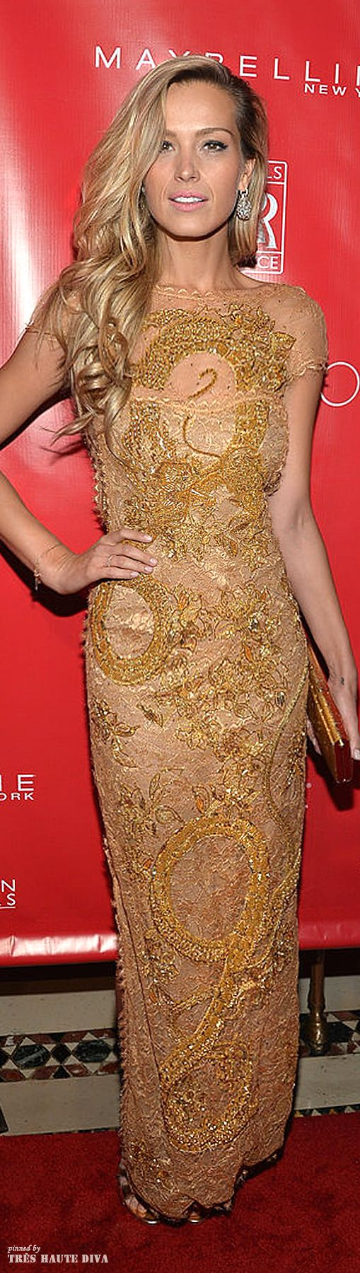 Petra Nemcova looks stunning in this golden long embroidered gown